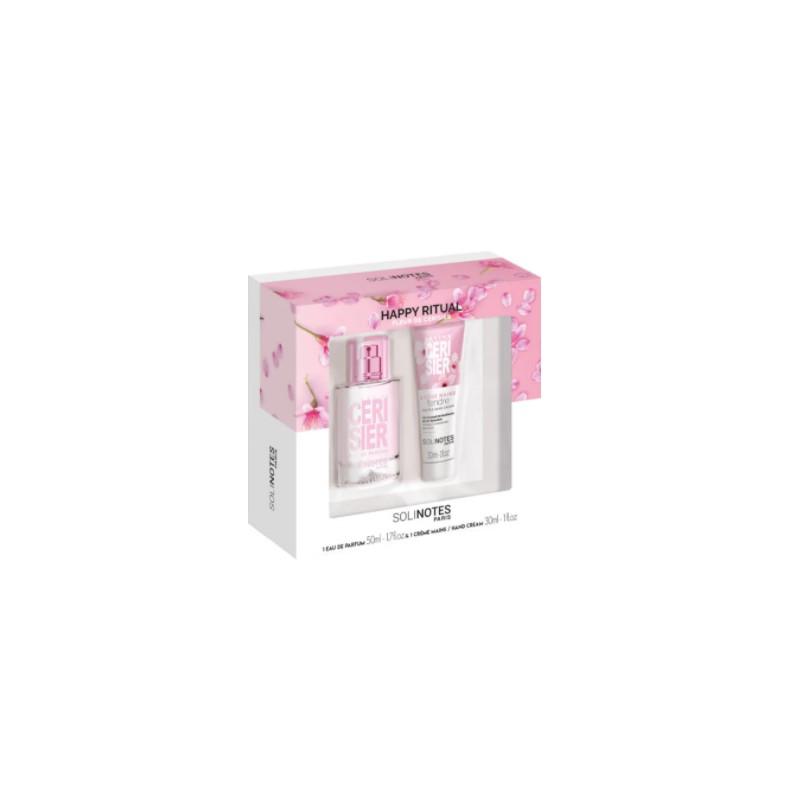 Coffret eau de parfum 50 ml et crème mains à la Fleur de Cerisier 30ml Solinotes